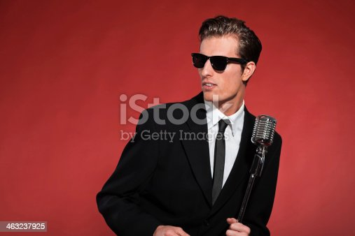 463242403 istock photo Retro fifties singer with vintage microphone and sunglasses. 463237925