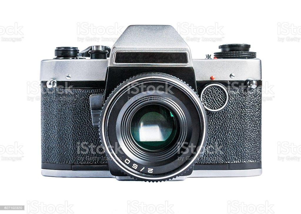 Retro film photo camera isolated on white – zdjęcie