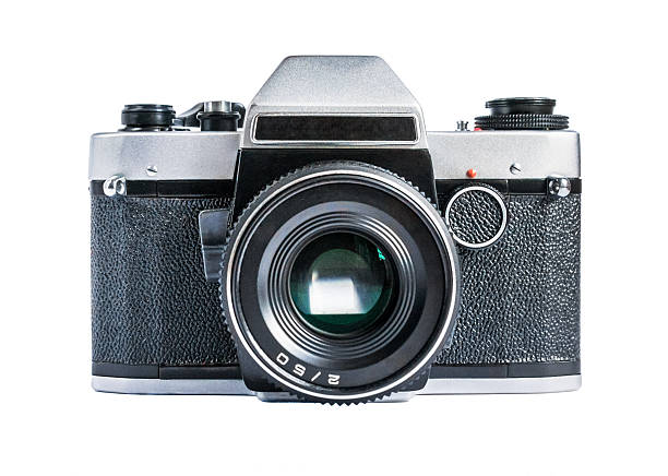 retro film photo camera isolated on white - camera photographic equipment stock photos and pictures