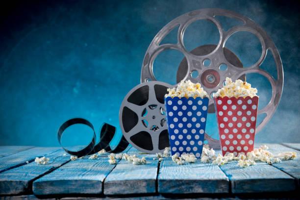 Retro film production accessories still life. Concept of film-making stock photo