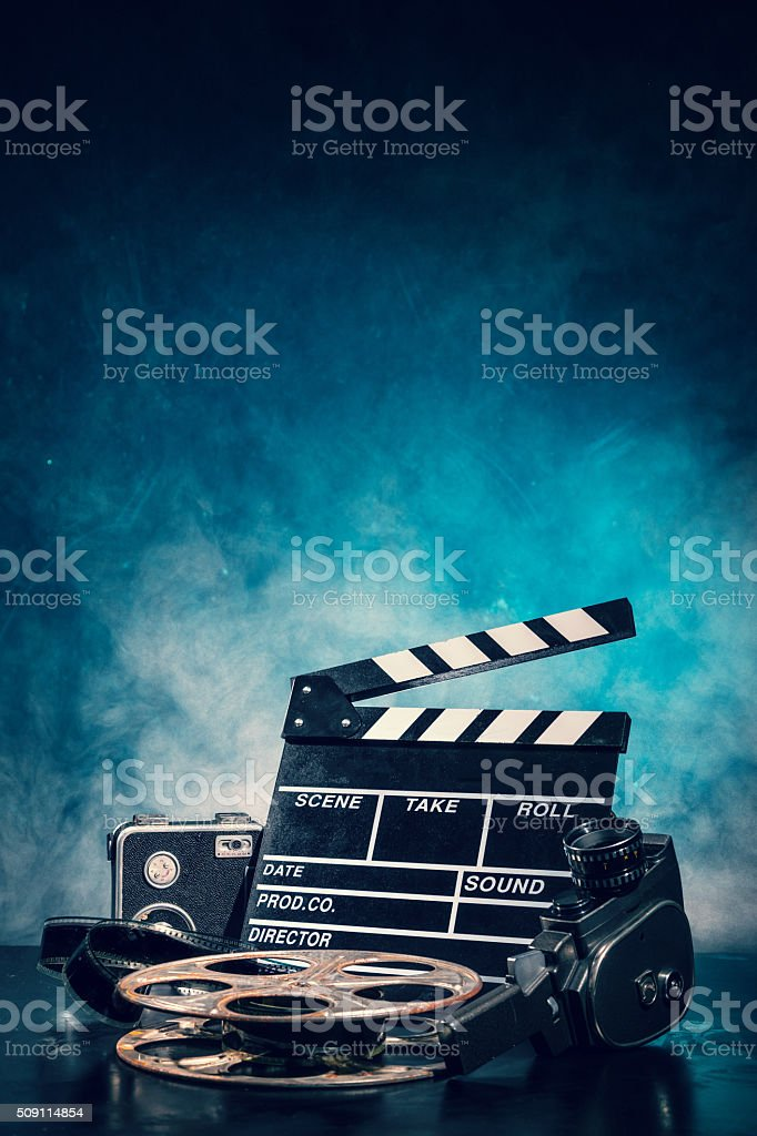 Retro film production accessories still life stock photo