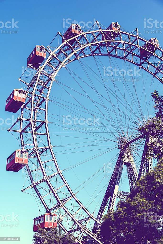 Retro Filter Of Fun Park Ferris Wheel stock photo