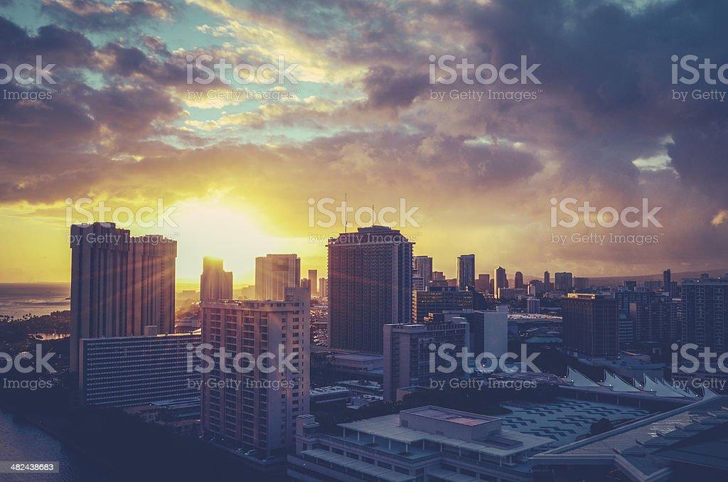 Retro Filtered Hawaii Cityscape stock photo