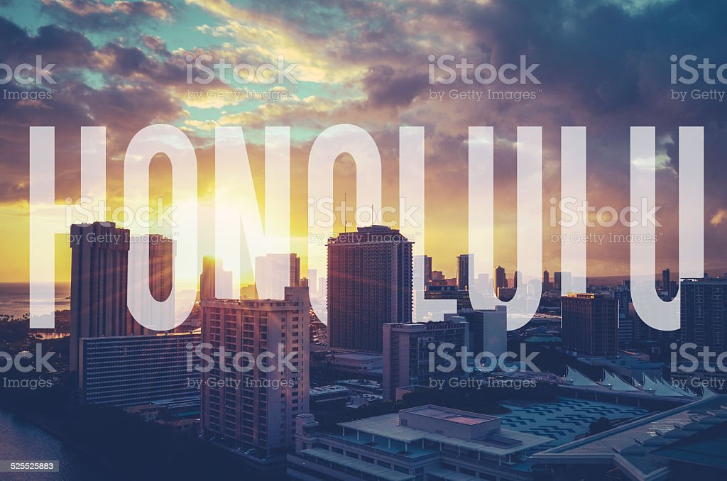 Retro Filtered Honolulu With Text stock photo
