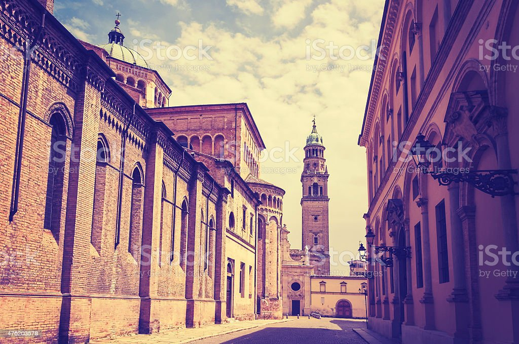 Retro filtered picture of Parma old town. stock photo