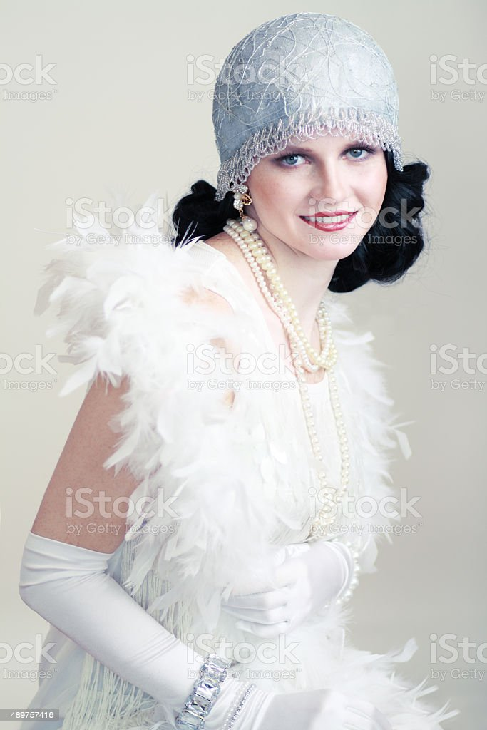 retro flapper style woman stock photo