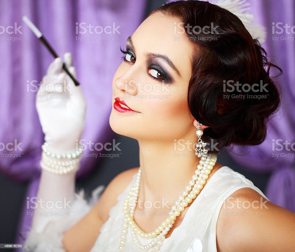 retro flapper style woman stock photo
