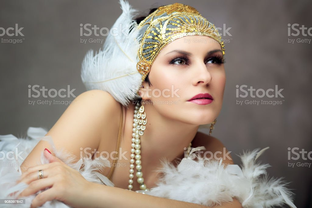 retro flapper woman stock photo