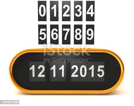 istock Retro flip calendar, 3D model - set your own date 497901288