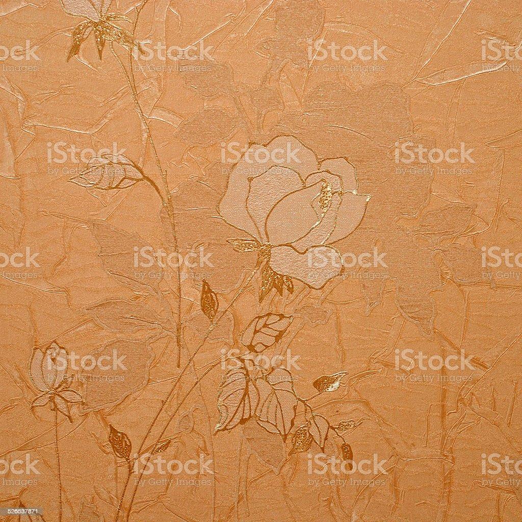 Retro Floral Wallpaper In Golden Design Stock Photo Download