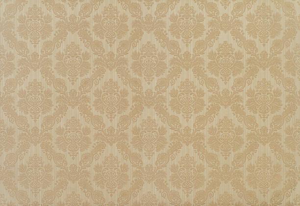 retro floral wallpaper in tan and brown design stock photo