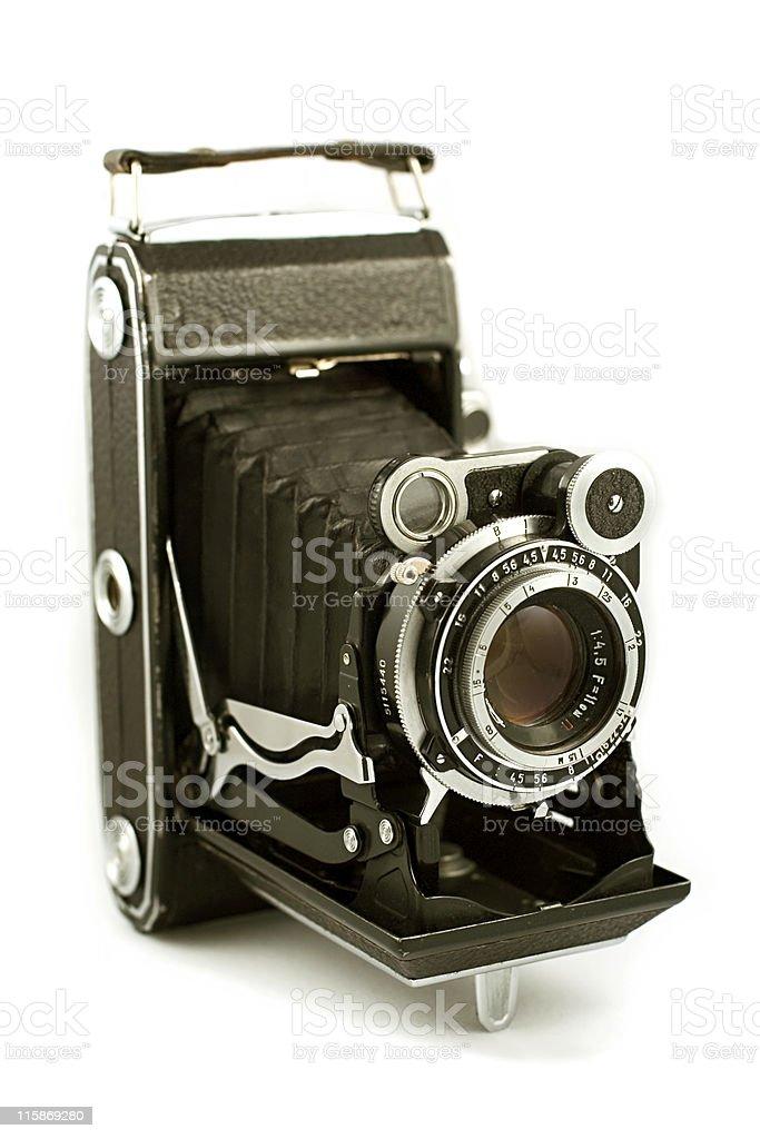Retro folding camera stock photo