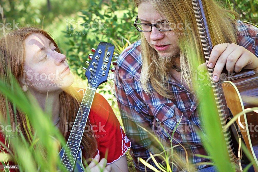 retro folk singers royalty-free stock photo