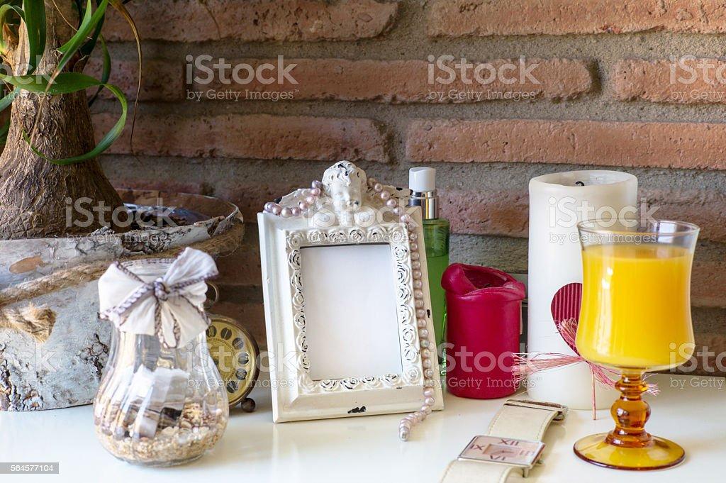 Retro frame on the ladies' table stock photo