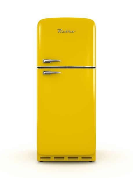 retro-kühlschrank isoliert auf weißem hintergrund 3d-rendering - geschlossene küchen stock-fotos und bilder
