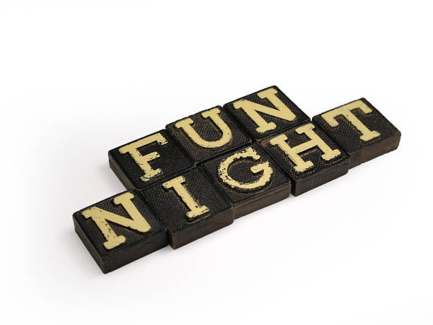retro fun night - word game stock pictures, royalty-free photos & images