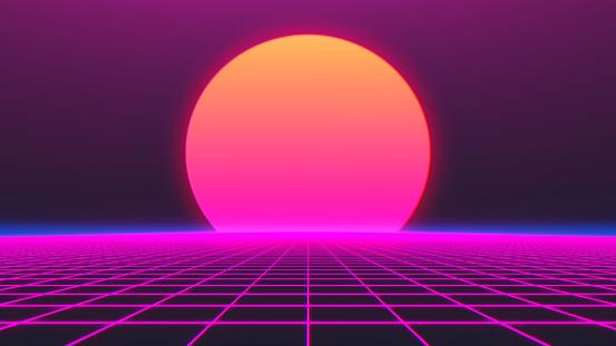 Retro Futurism Background 1980s style. 3d illustration