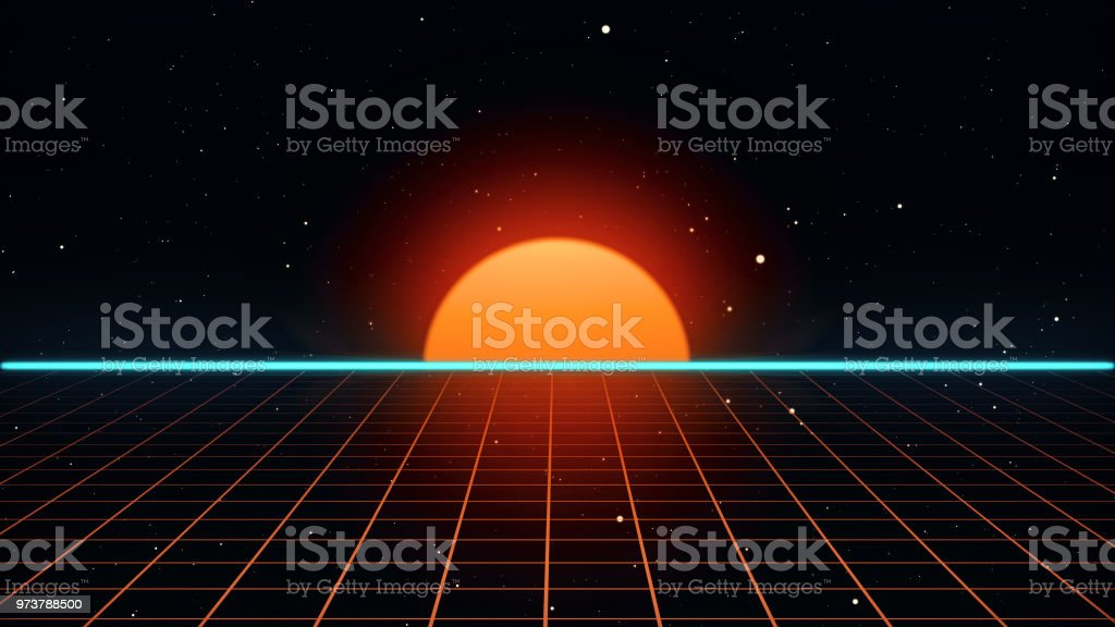Retro Futuristic 80s Vhs Tape Video Game Intro Landscape 3d Illustration  Stock Photo - Download Image Now