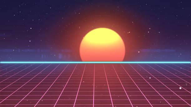 retro-futuristischen 80er jahre vhs band videospiel intro landschaft 3d illustration - arkade stock-fotos und bilder
