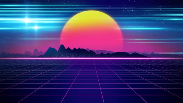 Retro futuristische Hintergrund 1980er Jahre Stil 3D-Illustration. – Foto