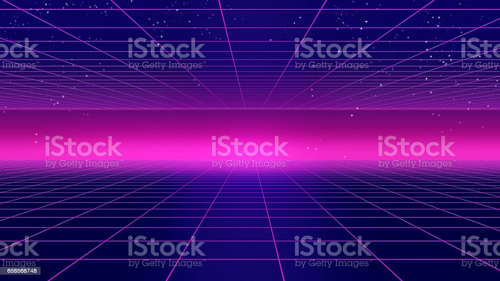 Retro futuristic background 1980s style 3d illustration. stock photo