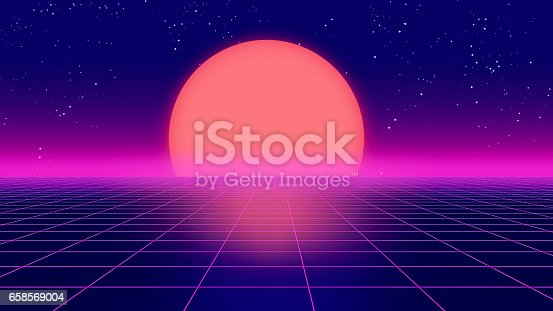 927062500 istock photo Retro futuristic background 1980s style 3d illustration. 658569004