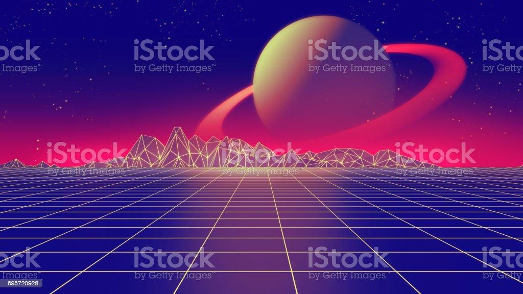 Retro futuristic background 1980s style 3d illustration. stock photo