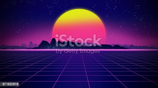 927062500 istock photo Retro futuristic background 1980s style 3d illustration. 871632818