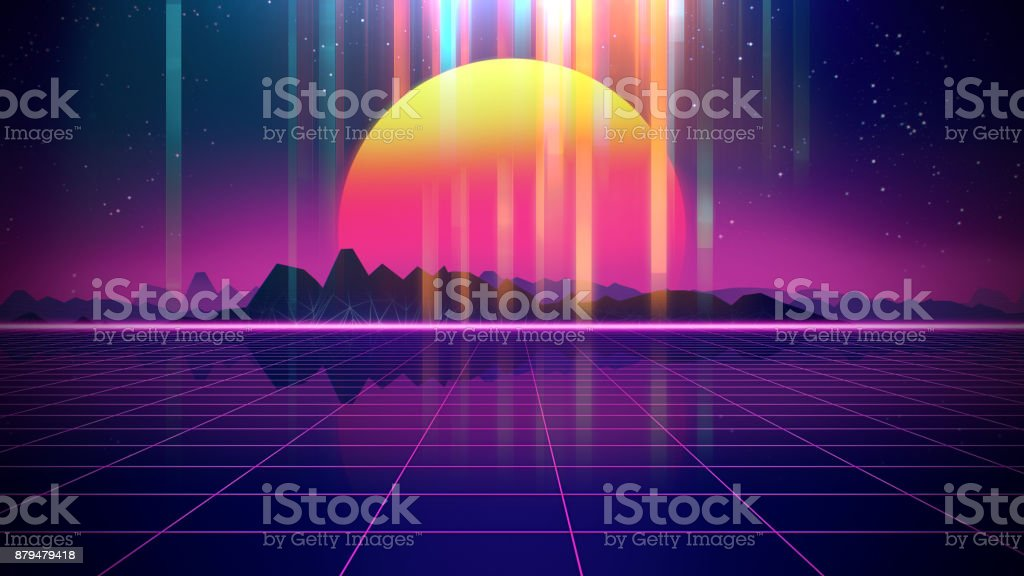 Retro futuristic background 1980s style 3d illustration.