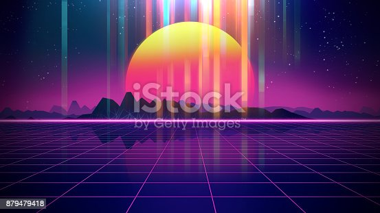 927062500 istock photo Retro futuristic background 1980s style 3d illustration. 879479418