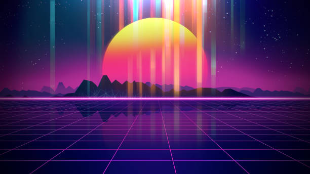 retro futuristic background 1980s style 3d illustration. - 1980s style stock photos and pictures