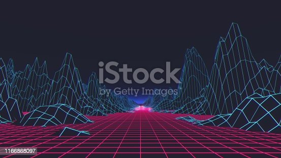 927062500 istock photo Retro futuristic background 1980s style. Digital landscape in a cyber world. 3d illustration 1166868097