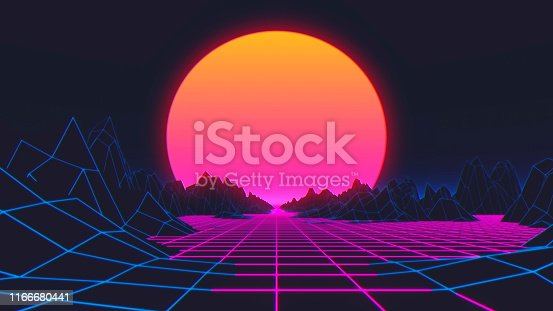 927062500 istock photo Retro futuristic background 80s style. 3d illustration 1166680441