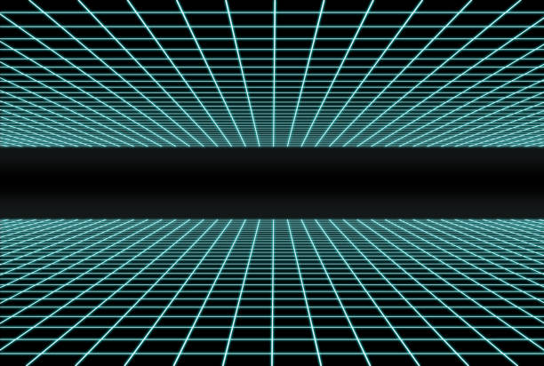 retro futuristic double grid - grid pattern stock photos and pictures