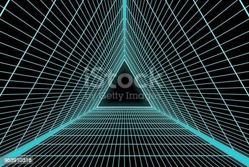 istock Retro Futuristic equilateral triangle grid 953910318
