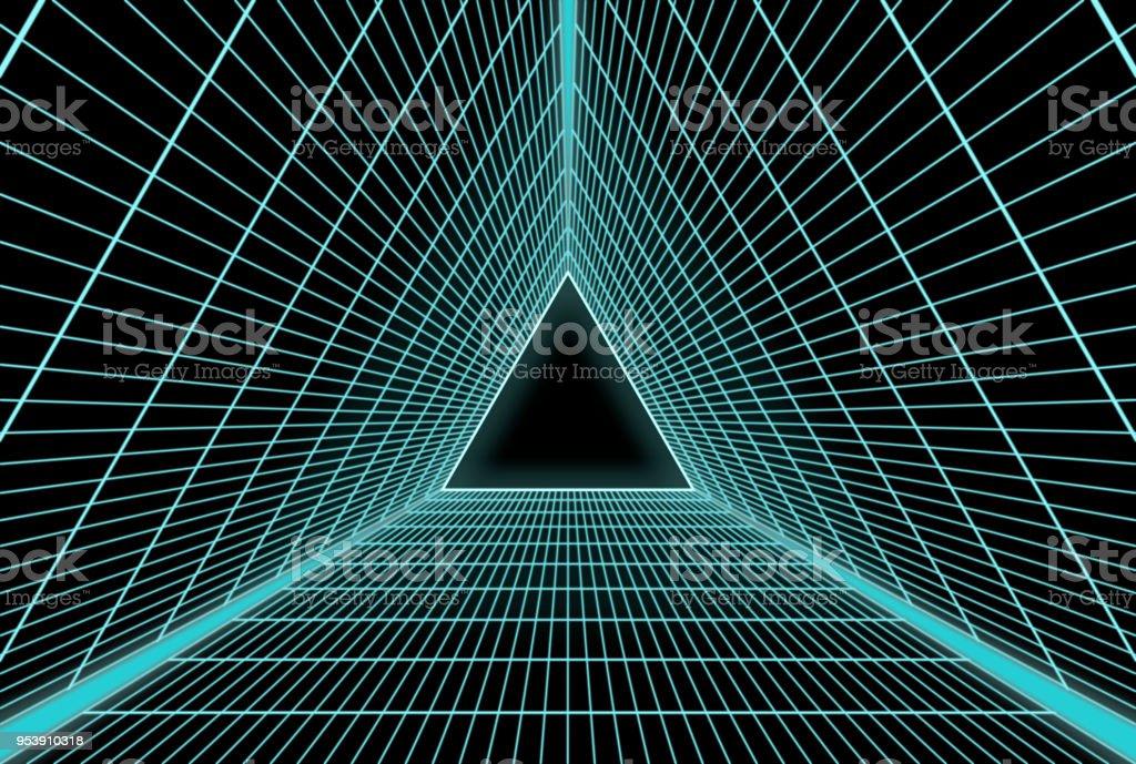Retro Futuristic equilateral triangle grid stock photo