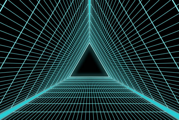 Retro Futuristic equilateral triangle grid stock photo