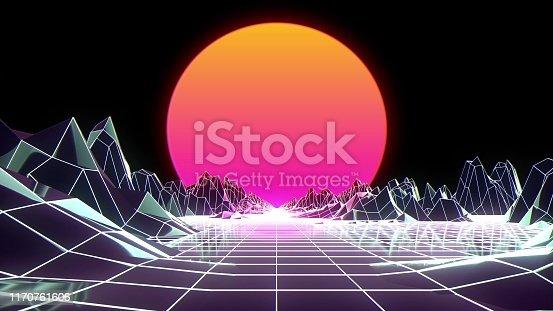 istock Retro futuristic flight over grid, seamless background 80s retro fantasy. 3d illustration 1170761606