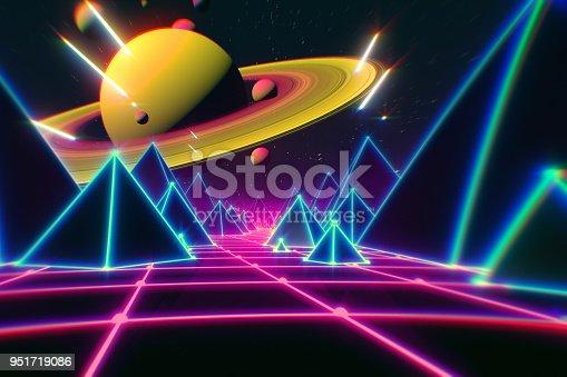 1060869186istockphoto Retro futuristic flight over grid,3d illustration background 80s retro fantasy. 951719086