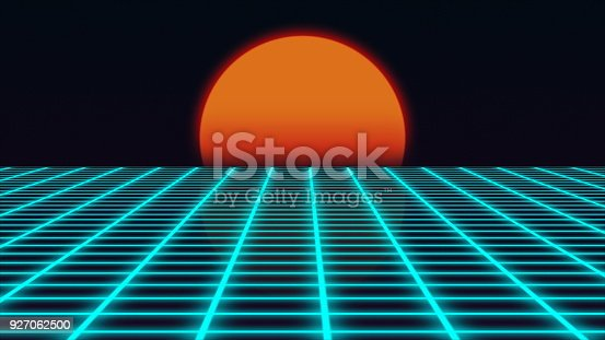 927062500 istock photo Retro futuristic landscape with sunset 1980s style, digital summer landscape with grid surface, 3D rendering 927062500