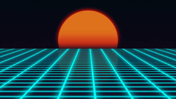 retro futuristic landscape with sunset 1980s style, digital summer landscape with grid surface, 3d rendering - 1990s style stock photos and pictures