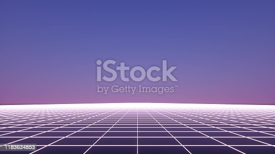 927062500 istock photo Retro futuristic neon grid background, 80s design. 3d illustration 1183634853