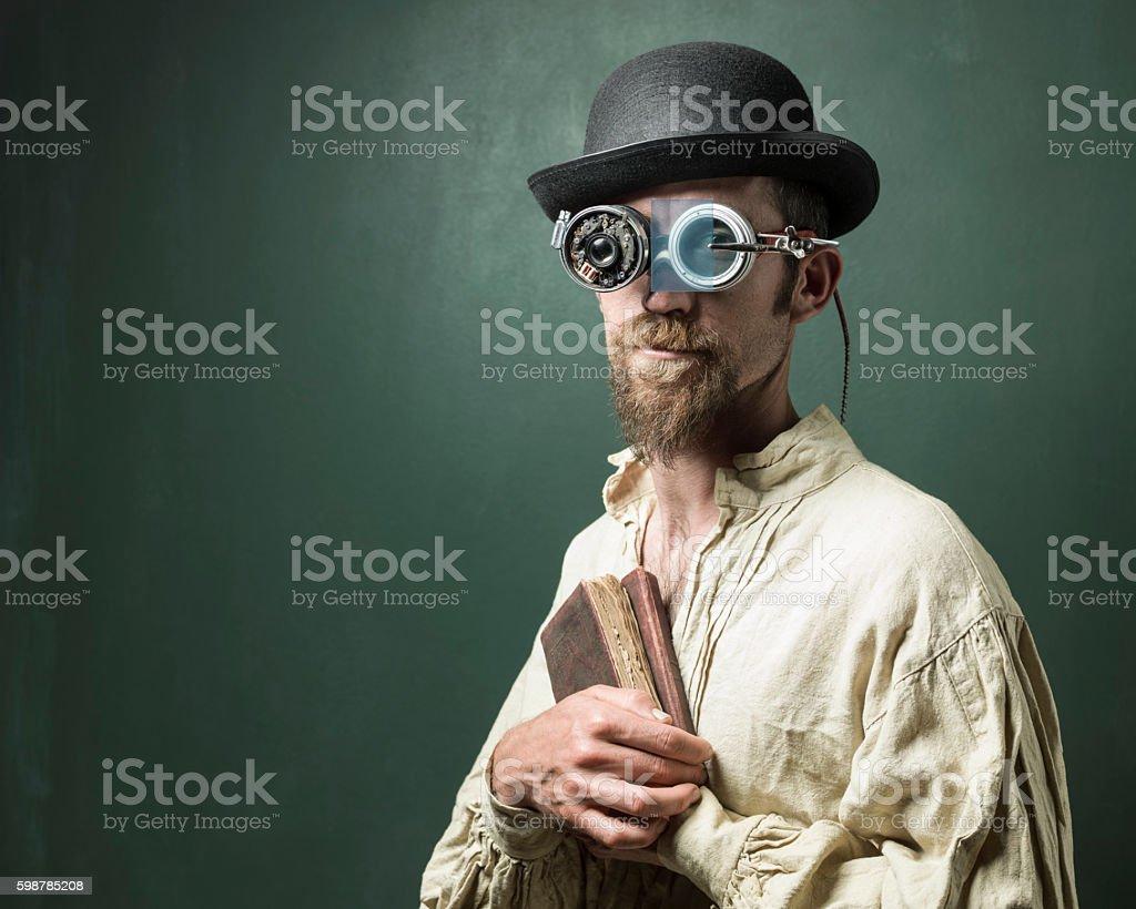Retro Futuristic Portrait Of Scientist Wearing Smartglasses stock photo