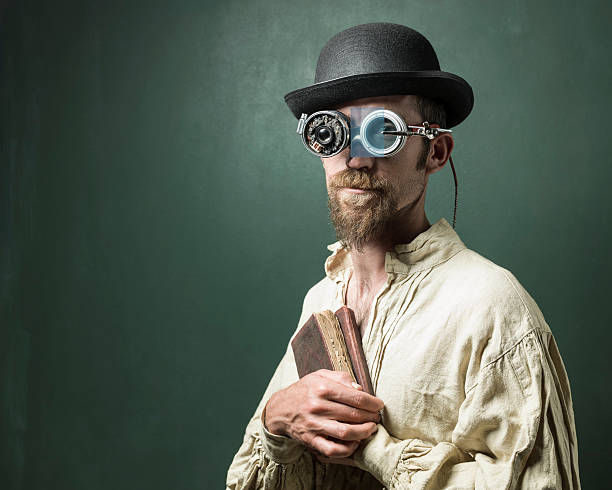 retro futuristic portrait of scientist wearing smartglasses - steampunk stock photos and pictures