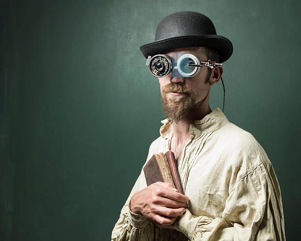 retro futuristic portrait of scientist wearing smartglasses - erfinder der fotografie stock-fotos und bilder