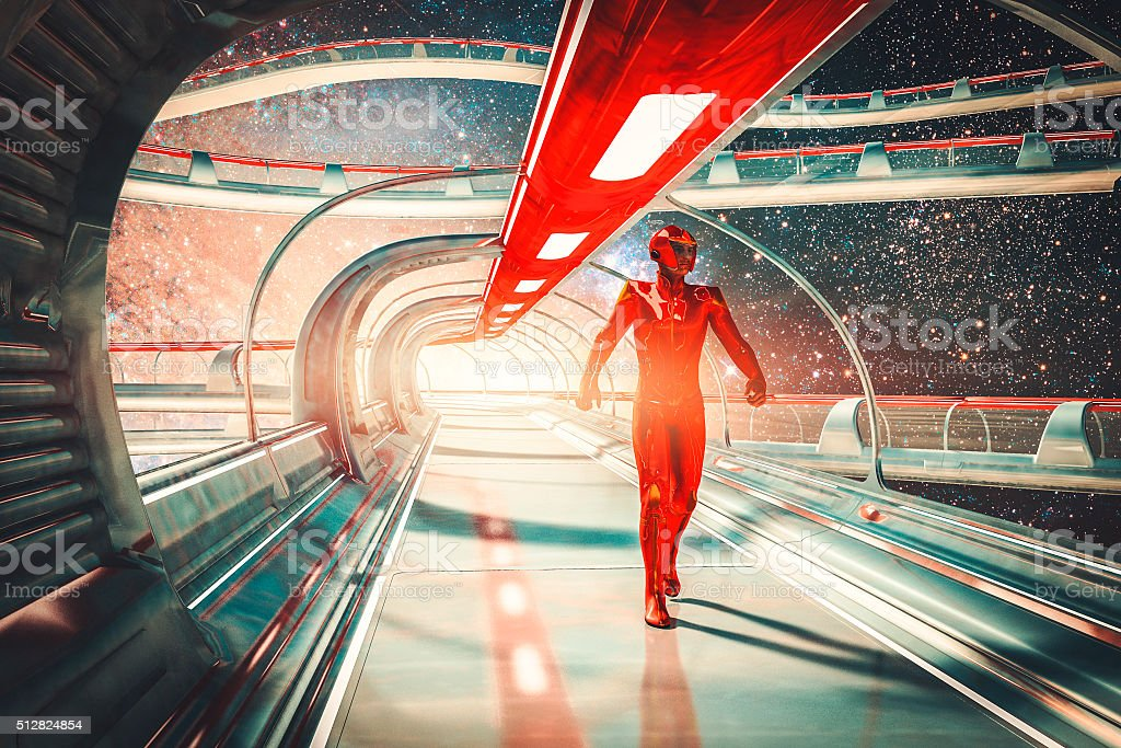 Retro futuristic sci-fi concept, commander, skybridge stock photo