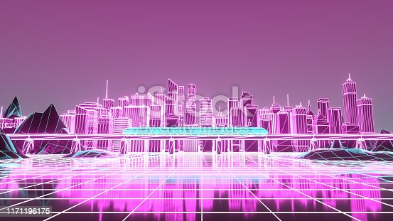 927062500 istock photo Retro futuristic skyscraper city 1980s style 3d illustration. Digital landscape in a cyber world 1171196175