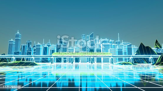 927062500 istock photo Retro futuristic skyscraper city 1980s style 3d illustration. Digital landscape in a cyber world 1171793245