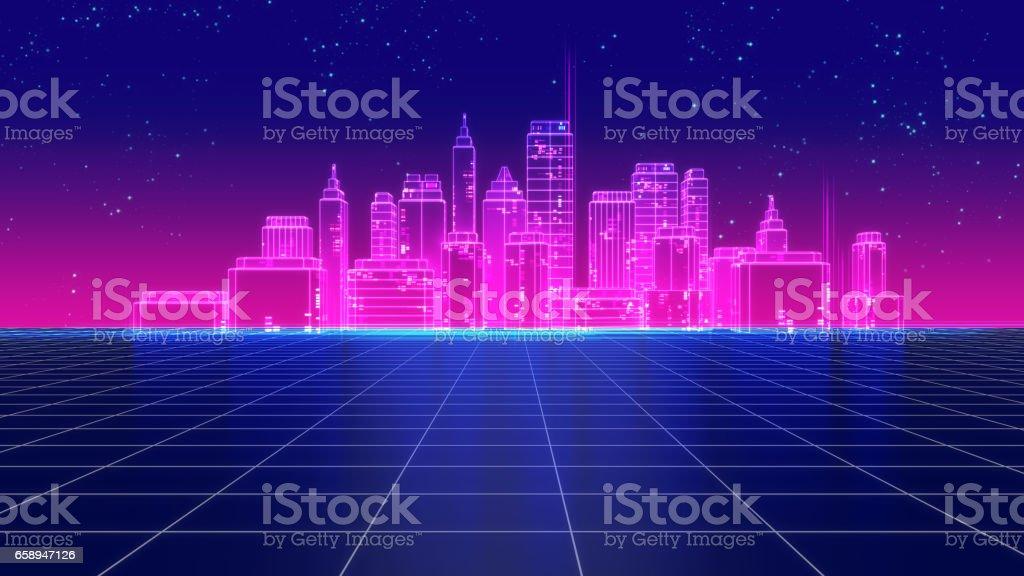 Retro futuristic skyscraper city 1980s style 3d illustration. stock photo