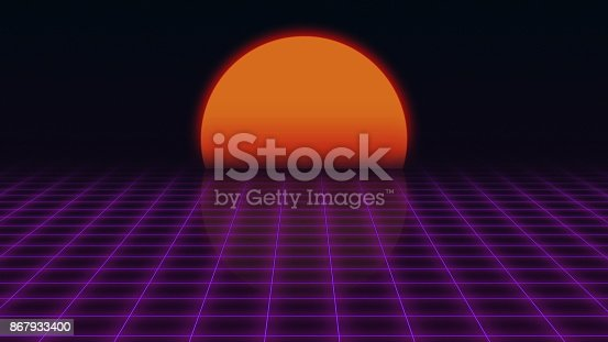istock Retro Futuristic.Grid and sunset. 80s Retro Sci-fi background 867933400